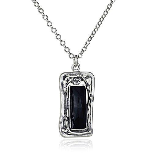 Kunstvolles Rechteck schwarz Onyx Anhänger 925Sterling Silber Halskette, 45,7cm + 10,2cm Extender - Vintage Juwel Hals