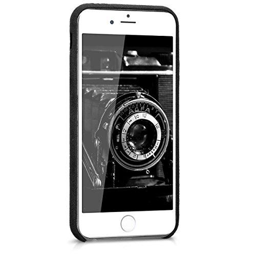 kwmobile Cover per Apple iPhone 6 / 6S - Custodia morbida in tessuto per cellulare - Soft Case protettiva Back cover rosso .nero
