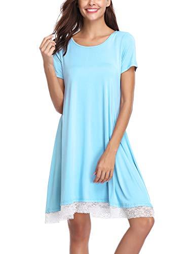 Aibrou Damen Baumwolle Nachthemd Rundhals Kurzarm Nachtkleid Sleepwear mit Spitzensaum (S-XXL) Blau M -
