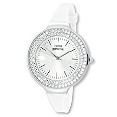 Idea Regalo - Think Positive - Orologio da donna crystal Analog Fashion Bracciale di silicone bianco orologio al quarzo con utp1 003 W
