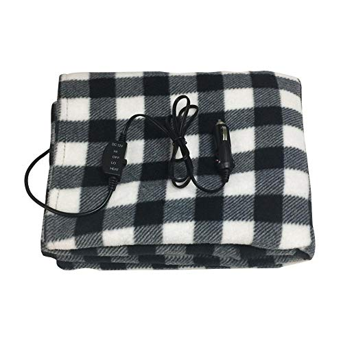 d Travel Electric Blanket,Electric Comfy Polar Fleece Heated Car Blanket with Premium Cigarette Lighter Plug for Vehicle, 145 * 100cm/57.09 * 39.37in ()