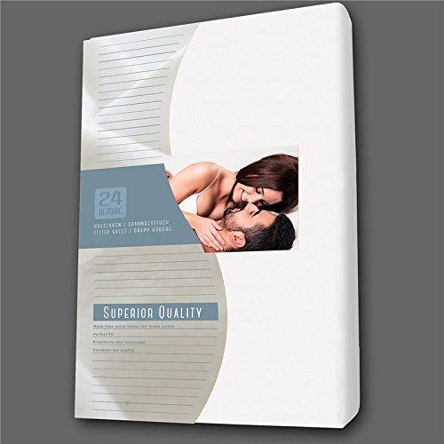 Spann-bettlaken-betttuch Boxspringbett Jersey 160 x 200 cm weiß 24-Bedding - 160 x 200 cm