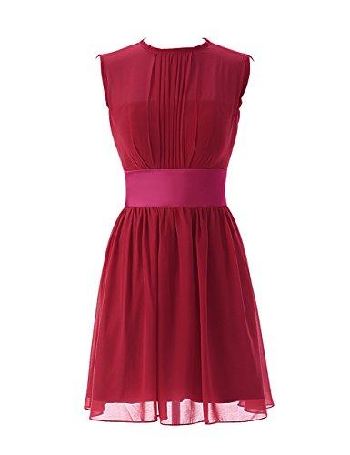 Dressystar Robe de demoiselle d'honneur/de soirée/de Cérémonie courte, Sans Manches, Plissée, au drapé, avec une ceinture, en Mousseline Rouge Foncé