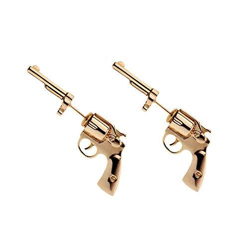 Goldene Gewehr-Bolzen-Ohrringe Kühlen Sie Temperament 925 Silberne Nadel-Ohrringe ab, die hypoallergen sind -