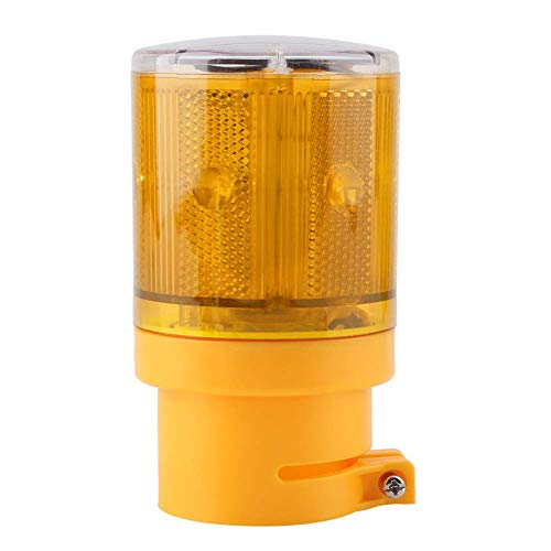 E-CHENG Solar LED Warning Flashing Light Wireless Control Garden Warning Signal Lamp Flashing Barricade Light Road Construction Safety Signs Flash Traffic Light Flicker Beacon Lamp (Yellow) -