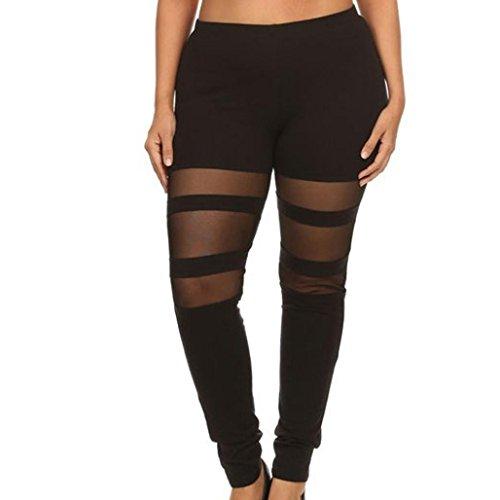 Frauen Plus Größe elastische Leggings-Bluestercool Schwarzem Netz Spleißen Yoga Pilates Sport Hose (Large, (Zerrissene Zombie Leggings)