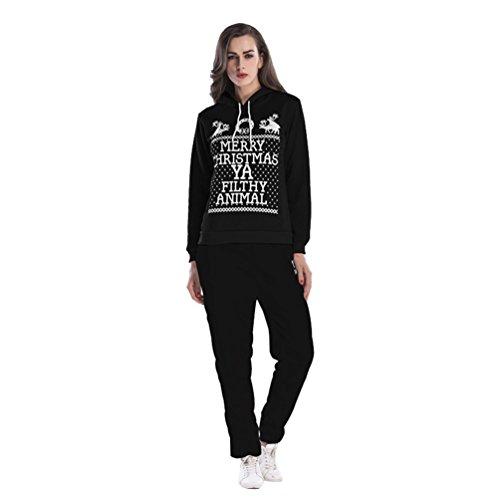 NiSeng Noël Sweat À Capuche, Sweatshirt Capuche Survêtement Femme Automne Casual Pull À Capuche+ Pantalons 2Pcs Suit Noir (Ensemble)
