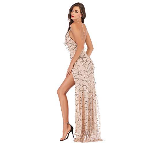 Onceal Frauen V-Ausschnitt Maxi Pailletten Halfter rückenfrei Split Cocktail Abendkleid Kleid (S, Beige)