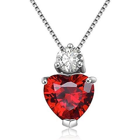 City Ouna® AAA plata 925 Cubic Zirconia mujeres collar colgante fino cristal joyas Chain(Red)