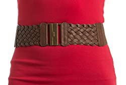 Womens Gorgeous Brown Braid Detail Stretch Belt Small
