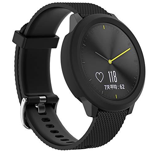 Huhu833 Schutzhülle für Garmin Vivoactive HR, Sport Weiche TPU Silikon Rahmen Hülle Ultraflaches Bumper Protector Shell für Garmin Vivoactive HR GPS Uhr (Schwarz) (Uhr Bumper)