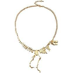 Culater® Steampunk AleacióN Goth Esqueleto De Dinosaurio Tiranosaurio Muertos Collar Del Encanto T-Rex (Oro)