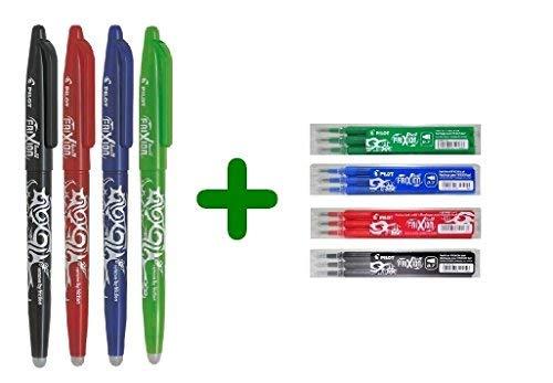 Pilot Frixion Ball 0.7mm - Set di penne a sfera cancellabili (1 blu, 1 rossa, 1 nera, 1 verde ) + Set di refill conf. da 3 (1 blu, 1 rosso, 1 nero, 1 verde)