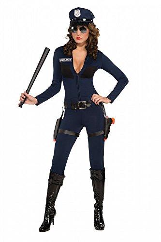 fic Cop Catsuit - inklusive Mütze Polizistin Police sexy Overall, Größe:34/36 ()