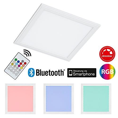 farbwechsel deckenleuchte Briloner Leuchten LED Deckenleuchte-Panel, Einbauleuchte, 18W, dimmbar, Farbtemperatursteuerung, App-Steuerung, Bluetooth, quadratisch, weiß, 29.5 cm