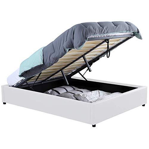 IDMarket - Lit Coffre Miami PVC Blanc avec sommier 140x190cm