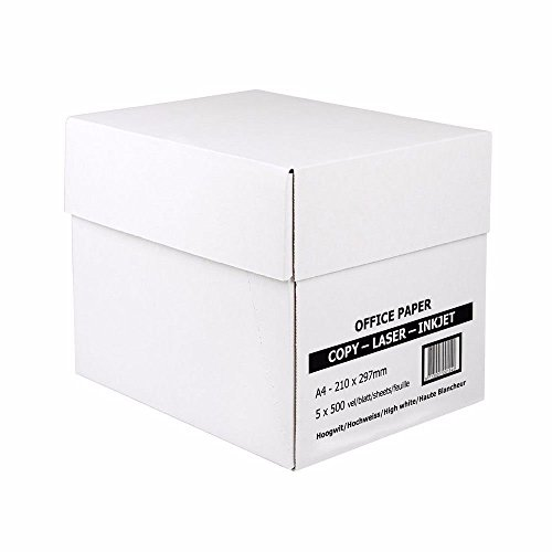 Kopierpapier Druckerpapier Papier, A4, 80g/m² für Laserdrucker, Tintenstrahldrucker, 2500 Seiten Blatt, weiß, direkt vom Hersteller