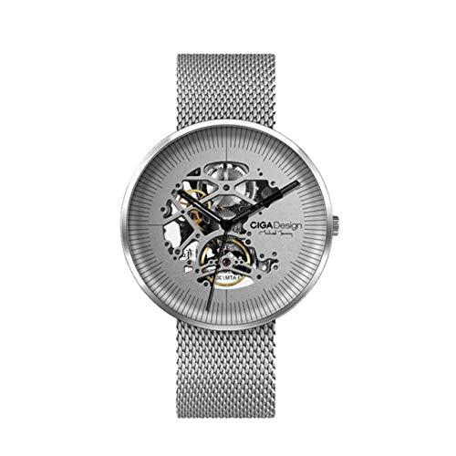 Ballylelly CIGA Design MY Series Reloj de Pulsera mecánico Casual Impermeable de Cuarzo Redondo Reloj de Pulsera de Acero Hueco de Acero (Plata)