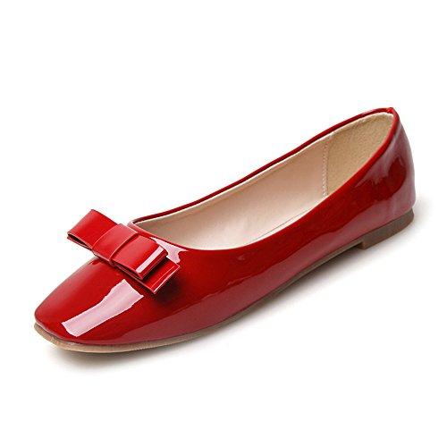 SHELAIDON Damen Slipper Flats Geschlossene Ballerinas Frauen Klassiker Partei Büroschuhe (EUR36,red)