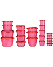 SimpArte Plastic Grocery Container, 21-Pieces, Pretty Pink