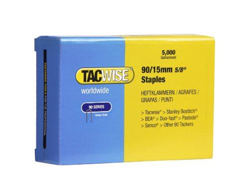 Tacwise 0306 Boîte de 5000 Agrafes à couronne étroite 15 mm Type 90
