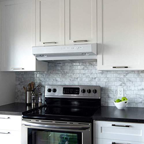 RENZHAO Fliesenaufkleber 5 Stück 3D Weiß Grau Marmor Mosaik Shell Und Stick Wand Fliesen Selbstklebende Backsplash Küche Badezimmer Home Wall Decal Vinyl 20 * 100cm -