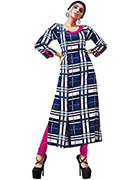 Rose Petals Fully Stitched Indo Western Reyon Check Kurti in Different Designer Cuts and Style with unique neck detailing (CHEp5010), check dress for women western, checks kurtis for women latest