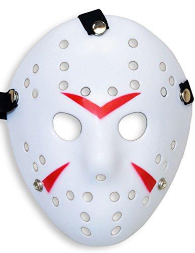 Hockey Halloween Maske Kostüm - HomeTools.eu® - Halloween Maske, Kostüm Horror Hockey Myers Gesichts-Maske, Fasching, Karneval, Grusel-Kostüm Hockey-Maske Fratze, Weiss