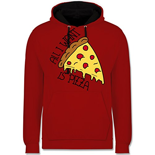 Statement Shirts - All I want is pizza - Kontrast Hoodie Rot/Schwarz