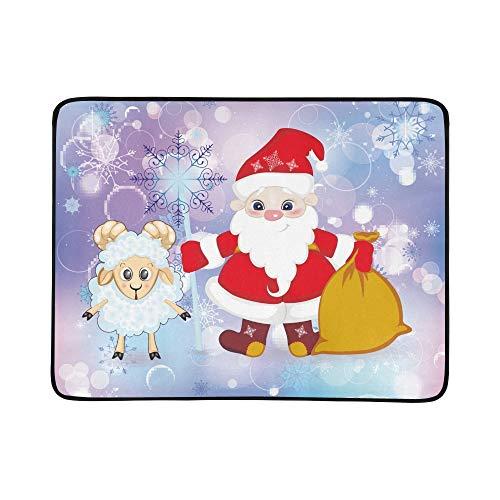 KAOROU Fabulous Santa Claus Sheep Staff Geschenk tragbare und Faltbare Deckenmatte 60x78 Zoll handliche Matte für Camping Picknick Strand Indoor Outdoor ()