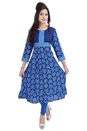 Bright Cotton Women's Cotton Anarkali Kurti (BCRMF-5023-40_40_Blue)
