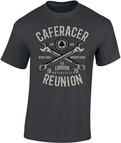 Camiseta: Cafe Racer Reunion - Regalo Motero-s - T-Shirt Biker Hombre-s y Mujer-es - Motocicleta - Bike - Chopper - Moto Club - Anarchy - Motociclismo - Calavera - USA - Motocross (Gris L)