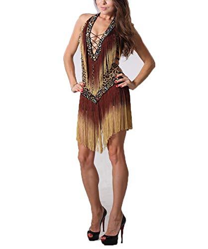 Kostüm, Fransen Tanzkleid Fliegender einteiliger Rock, Latin Dance Anzug, freie Größe ()