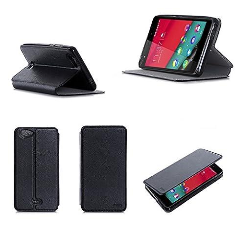 Etui Wiko Pulp FAB 4G/LTE noir luxe Ultra Slim Cuir