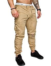 DSJJ Hombre Cinturón de Cintura elástico Pantalones de chándal de algodón  Jogging Pantalones de Carga Deportiva 135568137245