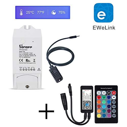 aixi-SHS Wi-Fi RGB Smart LED-Controller Light Dimmable Sonoff TH16 Wi-Fi Smart Switch mit Temperatur und Feuchtigkeits-Sensor-Amazon Alexa Echo, Google Home-EWeLink APP (Pack von 4) -