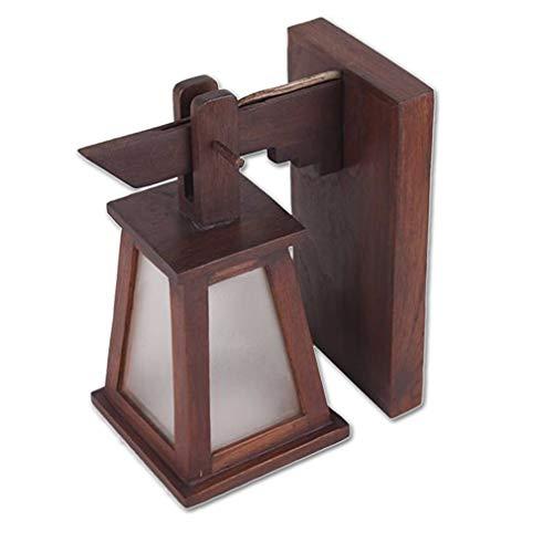 Lampada da parete in legno, stile rustico, stile retrò, per soggiorno, camera da letto, comodino, creatività, illuminazione da parete, stile industriale vintage, lampada da parete, lanterna bianca in vetro con attacco e27