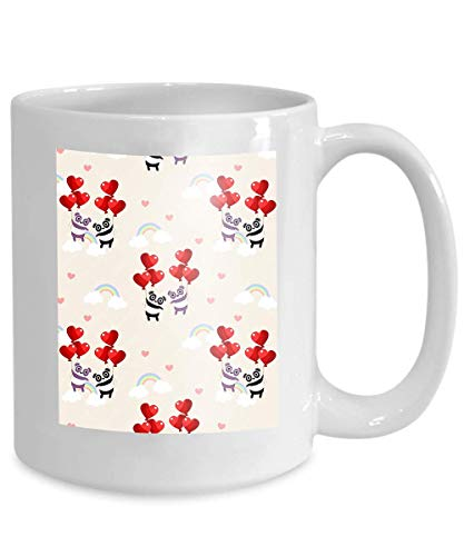 mug coffee tea cup cute couple panda heart balloon animal valentine concept Lifelike 110z