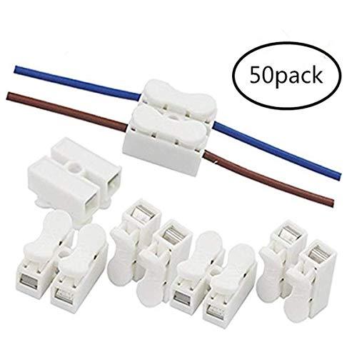 VIPMOON 50pcs Conectores Cable Resorte,CH2 Conectores de alambre del resorte Conector del...