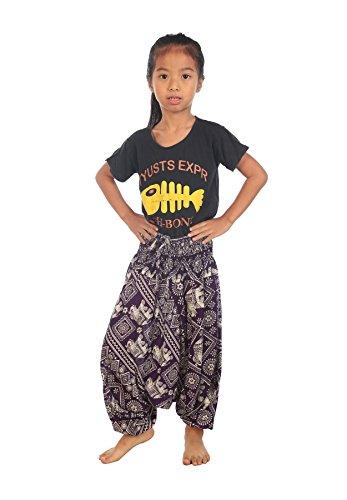 Lofbaz Mädchen Kinderhose Haremshose jumpsuit Elephant Dunkelviolett Größe 3-4Y
