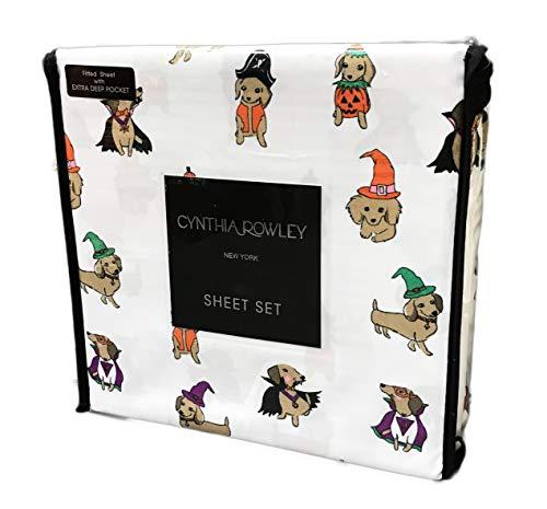 Cynthia Rowley Bettlaken-Set mit niedlichen Dackel-Wiener Hunden in festlichen Halloween-Kostümen Twin (Dackel In Halloween Kostüme)