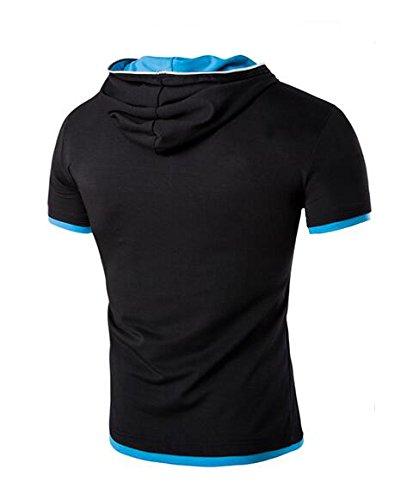 Herren Asymmetrisch Geneigt Reibverschluss Entwurf Armellos Kapuzenpullover T-Shirt Mit Kapuze Panzer Oben Baumwolle Hoodies T-Stuck Ubergroße Schwarz Blau