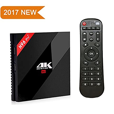 [2017 Latest Version] SINUK H96 Pro Plus 3GB/32GB Smart TV Box Amlogic 912 Octa-core Fast Speed Android 7.1 TV Box Support 2.4G/5G Dual Wifi 1000M LAN Ethernet Bluetooth HD 3D TV