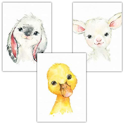Frechdax® Kinderzimmer Deko Bilder 3er Set ohne Bilderrahmen | Bauernhof Porträt Tierposter (3er Set Ente, Hase, Schaf)