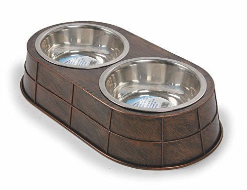 All for Paws Doppelnapf aus Metall Vintage Pet - Vintage Double Dinner Large 2 x 950 ml - braun