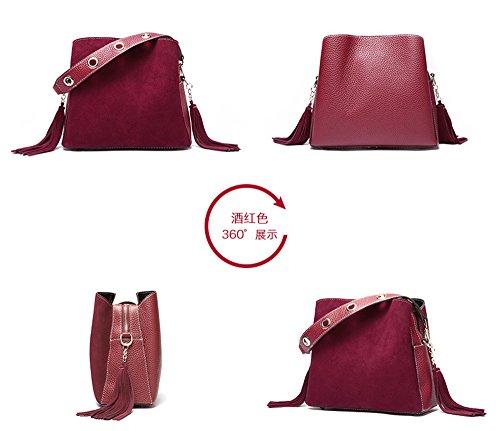 XinMaoYuan Herbst und Winter Leder Matt Handtaschen Schaufel Quaste Schulter Messenger Messenger Bag Farbe Reißverschlusstasche Wein rot