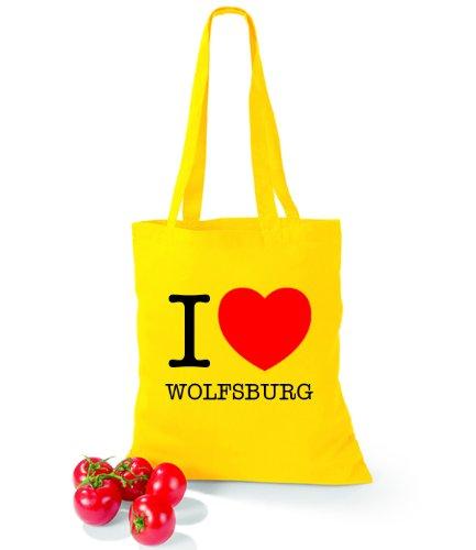 Artdiktat Baumwolltasche I love Wolfsburg Yellow