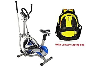 LEEWAY Orbitrek Exercise Elite Cycle| Multi Orbitrac Elliptical Steel Wheel bike| Orbitrack Dual Action / Hand Pulse Orbitrek Exercise Cycle With Seat and Pulse Stand - (Silver & Blue)