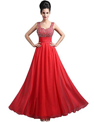 Sarahbridal Damen Lang Abendkleider Traegerkleid Hohe Taille Ballkleid SSD290 Rot