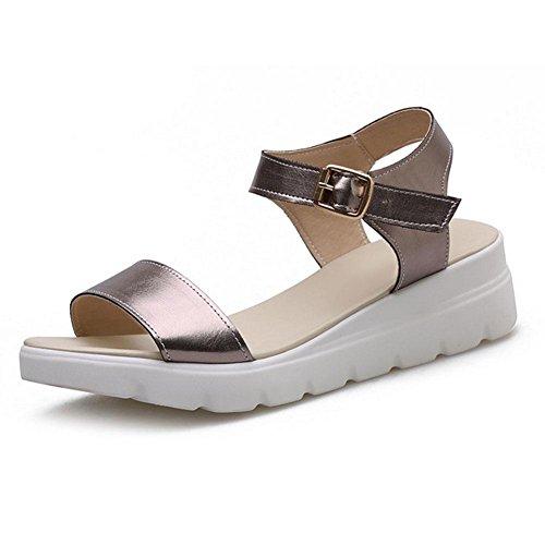 fibbia Word sandali donne scarpe casual open toe con scarpe basse studenti comode spiaggia selvaggia gun color